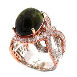 14.11 Carat Cass Green Tourmaline Diamond Cocktail Two-Toned Ring 14k Rose Gold