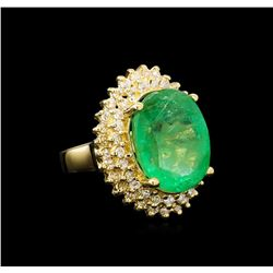 GIA Cert 11.91 ctw Emerald and Diamond Ring - 14KT Yellow Gold