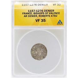 1157-1276 France Denier Bishops of Valence Coin ANACS VF35