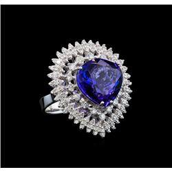 GIA Cert 11.22 ctw Tanzanite and Diamond Ring - 14KT White Gold