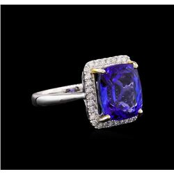 14KT White Gold 6.80 ctw Tanzanite and Diamond Ring