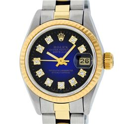 Rolex Ladies 2 Tone 14K Blue Vignette Diamond Datejust Wristwatch