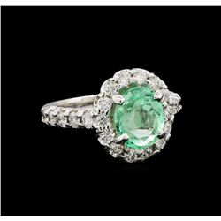 2.61 ctw Emerald and Diamond Ring - 14KT White Gold