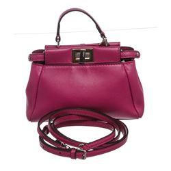 Fendi Pink Nappa Leather Peekaboo Micro CrossbodyHandbag