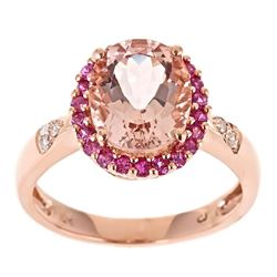 2.35 ctw Morganite, Pink Sapphire and Diamond Ring - 10KT Rose Gold