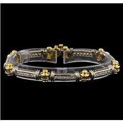 1.60 ctw Diamond Bracelet - 14KT White and Yellow Gold