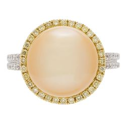 0.42 ctw Yellow and White Diamond and Pearl Ring - 18KT White and Yellow Gold