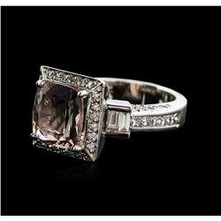 14KT White Gold 3.23 ctw Morganite and Diamond Ring