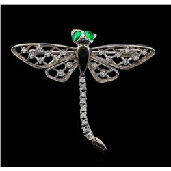 14KT White Gold 0.27 ctw Diamond, Onyx and Emerald Butterfly Pin