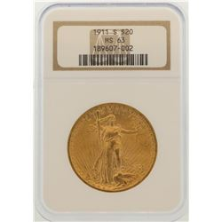 1911-S $20 St. Gaudens Double Eagle Gold Coin NGC MS62