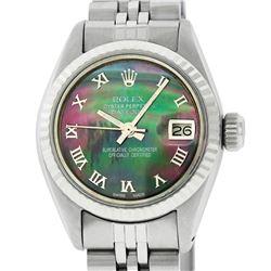 Rolex Ladies Stainless Steel Tahitian MOP Roman 26MM Datejust Wristwatch