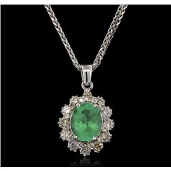 2.52 ctw Emerald and Diamond Pendant With Chain - 14KT White Gold