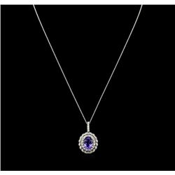 5.23 ctw Tanzanite and Diamond Pendant With Chain - 14KT White Gold