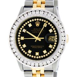 Rolex Mens 2 Tone Black String VS 3CTW Channel Set Diamond Datejust Wristwatch