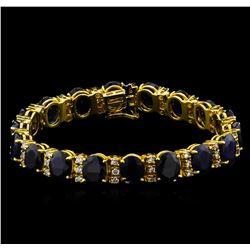 42.04 ctw Blue Sapphire and Diamond Bracelet - 14KT Yellow Gold