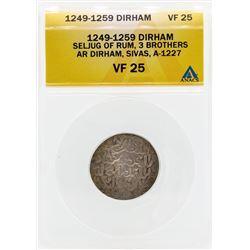 1249-1259 Dirham Seljug of Rum 3 Brothers Coin ANACS VF25