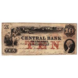 1850 $10 Central Bank of Alabama Obsolete Bank Note