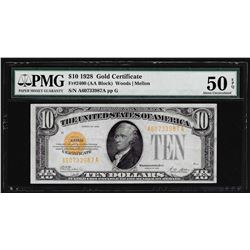 1928 $10 Gold Certificate Note Fr. 2400 PMG About Uncirculated 50EPQ