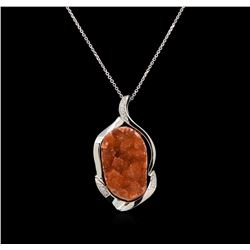 10.00 ctw Citrine and Diamond Pendant With Chain - 14KT White Gold