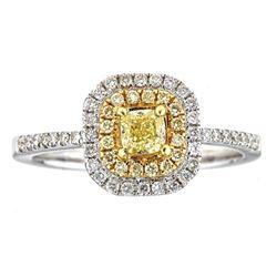 0.68 ctw Yellow and White Diamond Ring - 18KT White and Yellow Ring