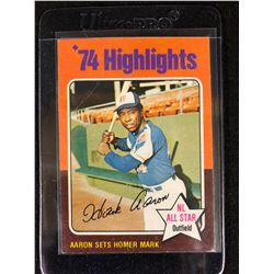 1975 Topps Mini 1974 Highlights Hank Aaron #1