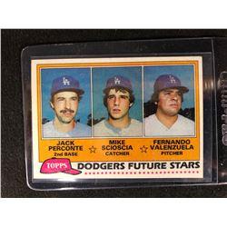 1981 TOPPS PERCONTE/ SCIOSCIA/ VALENZUELA DODGERS FUTURE STARS CARD #302