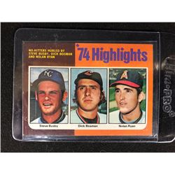 1975 Topps Mini 1974 Highlights Steve Busby/ Dick Bosman/ Nolan Ryan #7