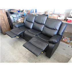 New Black Leather Manual Reclining Sofa