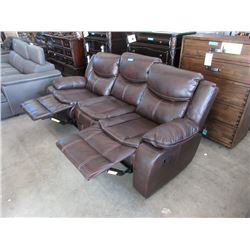 New Brown Bonded Leather Manual Reclining Sofa