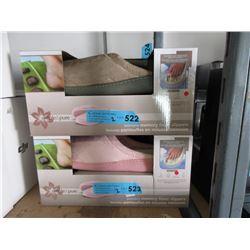 2 Pairs of New Memory Foam Slippers - L & XL