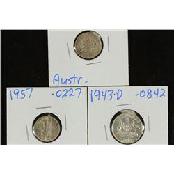 AUSTRALIA 1936 & 1957 SILVER 3 PENCE & 1943-D SILV