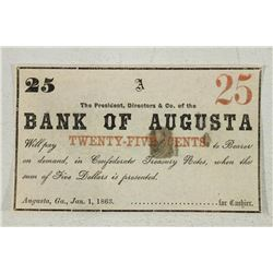 1863 BANK OF AUGUSTA 25 CENT OBSOLETE BANK NOTE