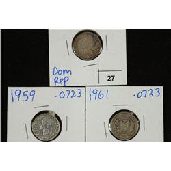 DOMINICAN REPUBLIC 1951,59 & 61 SILVER 10 CENTAVOS