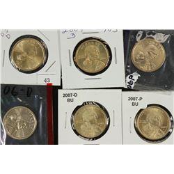 2003-D,04-D,06-P,06-D,07-D & 07-P SACAGAWEA $'S BU