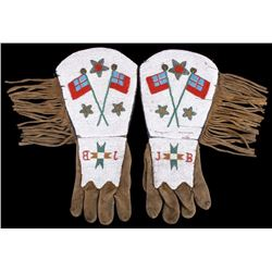 Assiniboine Fully Beaded Gauntlet Gloves 1870-1890