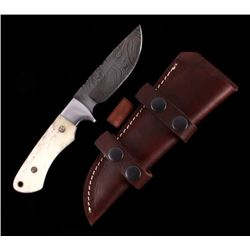 CFK Damascus Exotic Camel Bone Inlaid Horn Knife
