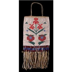 Flathead Fully Beaded Flat Squaw Bag c 1900-
