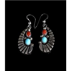 Signed Navajo Sterling Silver & Multistone Earring