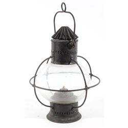 19th Century Onion Globe Lantern with Iron Cage