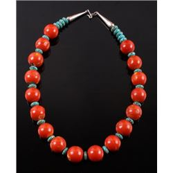 Navajo Bamboo Coral and Turquoise Nugget Necklace