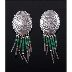Navajo Sterling Concho & Malachite Dangle Earrings