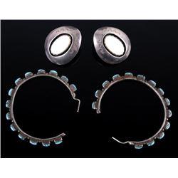 Navajo Mother of Pearl and Turquoise Hoop Earrings