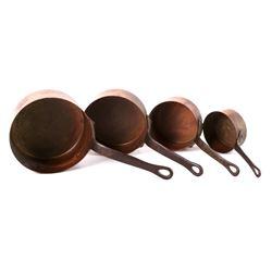 Antique American Graduated Copper Cooking Pots