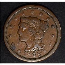 1848 LARGE CENT N-37 FINE RARE VARIETY