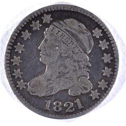 1821 BUST DIME, VG/FINE