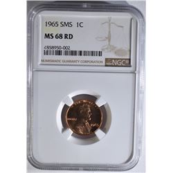 1965 SMS LINCOLN CENT, NGC MS-68 RED RARE!!!