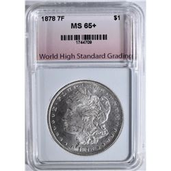 1878 7TF MORGAN DOLLAR, WHSG GEM BU+