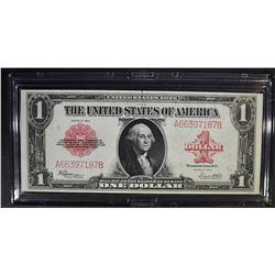 1923 $1 U.S. RED SEAL NOTE  NICE UNC