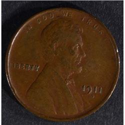 1911-D LINCOLN CENT  BROWN  AU