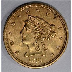 1861 $2 1/2 GOLD LIBERTY  CH BU